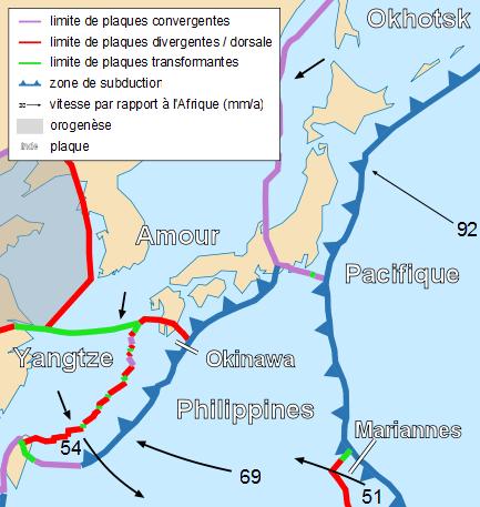 Carte des plaques tectoniques au Japon